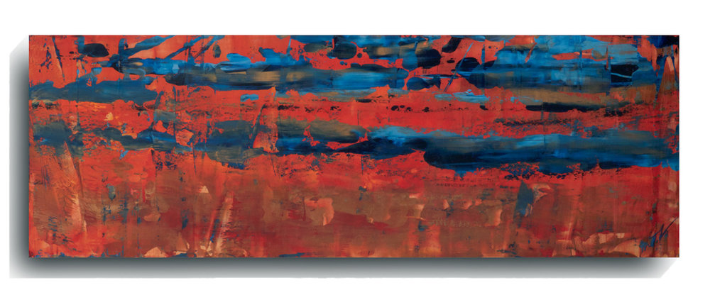 Rorschach     Panoramic     09,   2015, Acrylic on wood panel, 12 x 36 inches, $495     Contact Mark Sivertsen