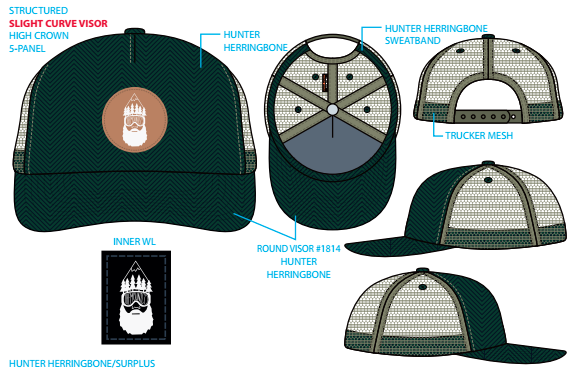 The first hat is hunter color with herringbone material on the front panel.  Army green trucker mesh for the back of the hat and an army green snap.  The front of the hat is embellished with a leather patch and our logo inside.