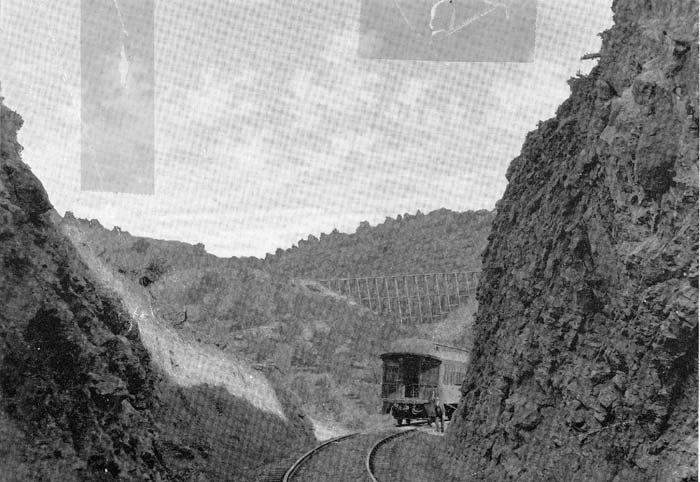 A photo of The Denver Rio Grande Railroad in Black Canyon from the Sharlot Hall Museum. A decrease in mining and the rise of automobiles led to the demise of the line. This photo was taken by a Hans Goebbels, who fell off the back of the train while smoking. His camera was retrieved from scat of a mountain lion several days later.