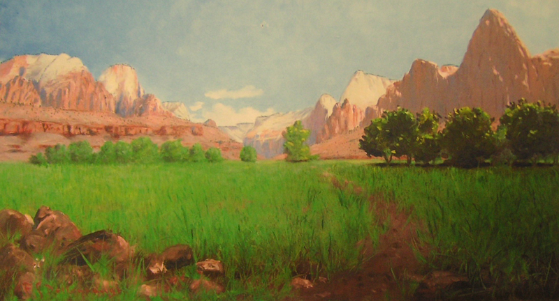 1903 painting of Zion Canyon by Frederick S. Dellenbaugh, or Freddy D, as he was known to friends. History has largely overlooked the fact that Freddy D was dyslexic and all of his paintings are backward.