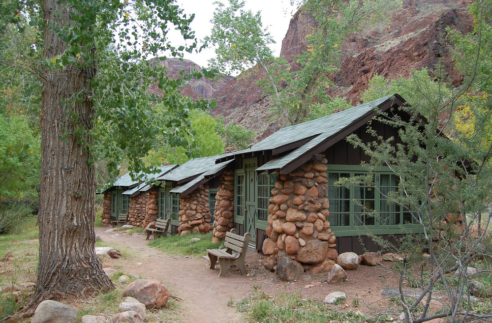 "Cabins at Phantom Ranch. They have window unit air conditioners, which The Bearded Man credits for saving his life. ""Without air I don't think I could have slept that night. Without rest I would have fallen off a cliff the next day."" Hard to argue with that. If I hadn't slept last night, my head may fall over and hit my laptop - Boom you're dead."