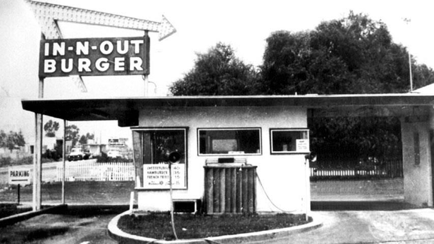 First In-N-Out Burger in Baldwin Park, California. Rumored to have been started by a frustrated California housewife.