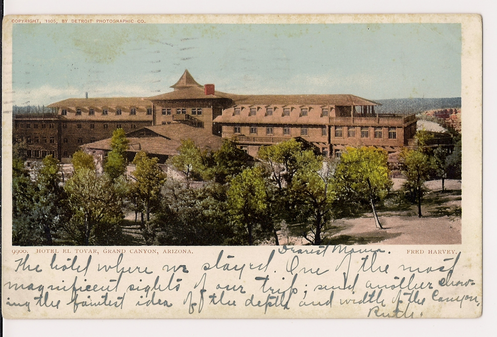 "The landmark El Tovar Hotel, overlooking the rim of the Grand Canyon. The inscription on the postcard reads in part, ""Sorry to hear about Uncle Fred, but we have our own problems. Betty got sauced and just slipped over the rim of the canyon."""