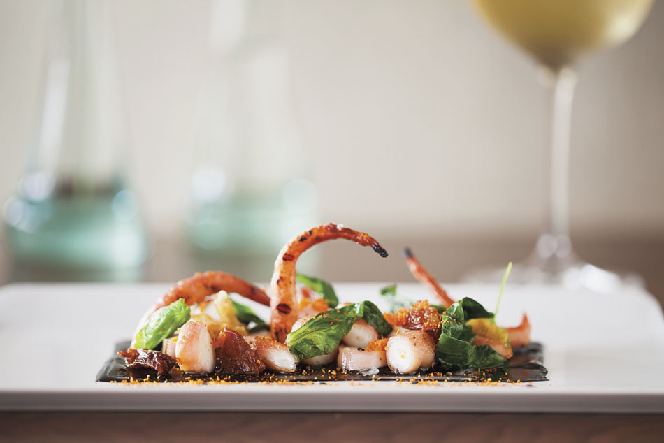 """Grilled Spanish octopus. Just look at it. It's saying, """"I am reaching out to you. Take me, eat me, please eat me."""" I know, I speak Spanish. It is also saying some other things I can't repeat."""