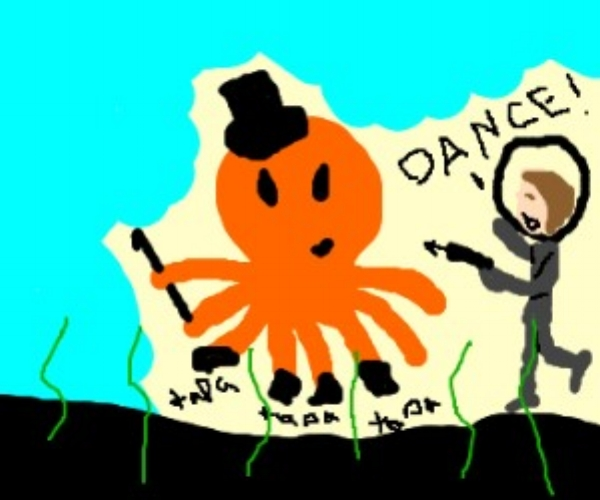 "An artist's rendering of the only known sighting of a dancing octopus. Seen here being threatened by Jacques Cousteau to ""dance or else."""