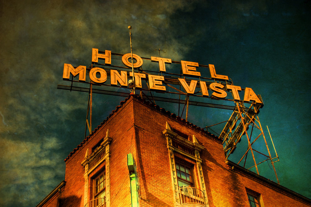 Hotel Monte Vista in Flagstaff, Arizona. If you are looking for a place to stay up all night, with one eye open, this is the place. The twin little girls walking down my hall at 3 AM will forever haunt my dreams.  Pretty sure they were mumbling redrum...redrum.