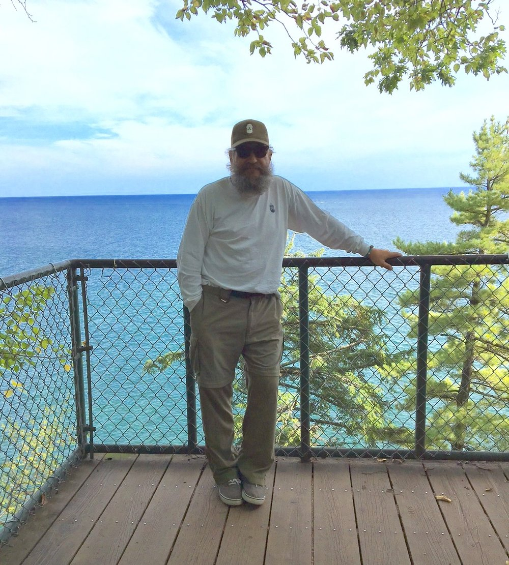 Hiking up to Black Rock on Lake Superior. Please note the serious hiking shoes.