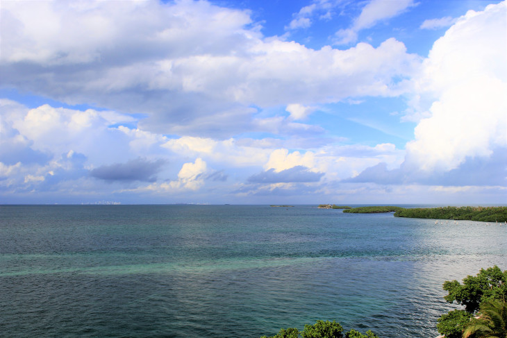 Looking northwest from the lighthouse. A series of small islands and Miami, 16.5 miles away on the distant horizon.