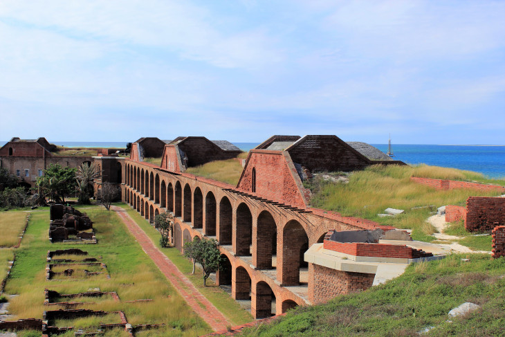 LOOKING DOWN INTO THE YARD OF FORT JEFFERSON.  THIS ROOM HAD A COURTYARD VIEW AND COST LESS THAN ROOMS ON THE OTHER SIDE.  NEITHER INCLUDED BREAKFAST.
