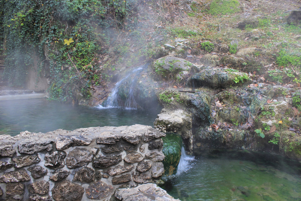 Scattered along bathhouse row are natural hot springs, emerging from faults in the mountain. This one was 140 degrees. I was only told afterward that I wasn't supposed to bathe in it