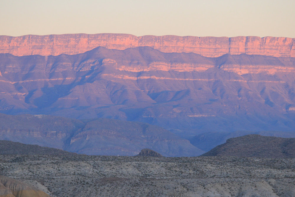 The magnificent cliff walls of the Sierra Del Carmen in Mexico at dusk.