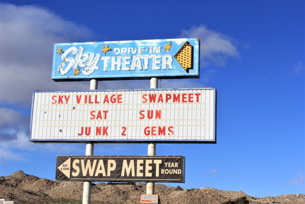 This sign was actually in the neighboring town of Yucca Valley. When I saw the drive-in sign I got all excited. Not to be, just a large flea market selling plastic cowboy boots.