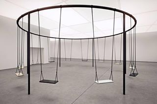 "The appeal of this piece - #Swings - is beyond the simple design, somewhere in the untapped kinetic energy that would transform it in to a moving sculpture. It was created by artist #PhilippeMalouin #Swings at the interior design show in Toronto. We would loved it to have been  called "" ... and Roundabouts""."