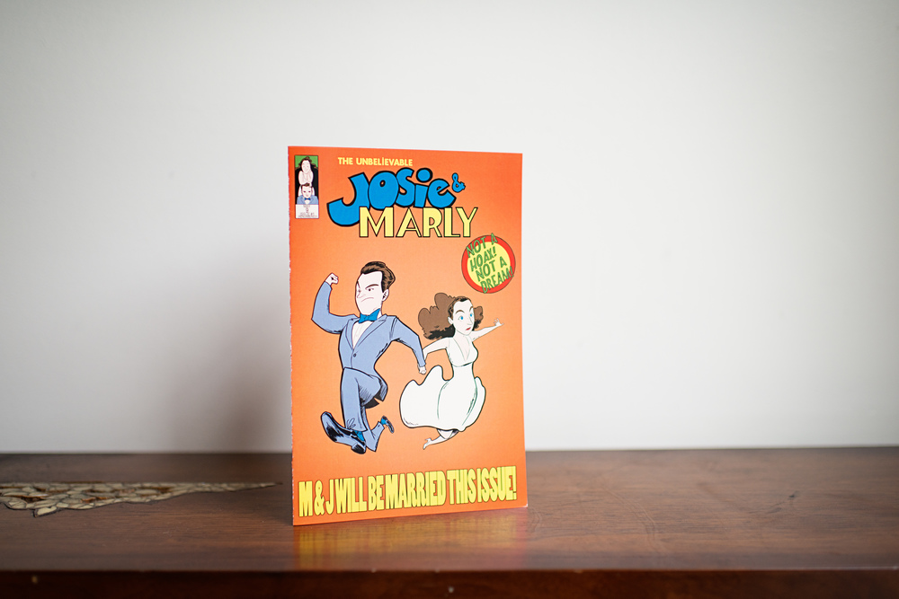 The AMAZING comic book wedding program that Marly & Josie's friend created for them.