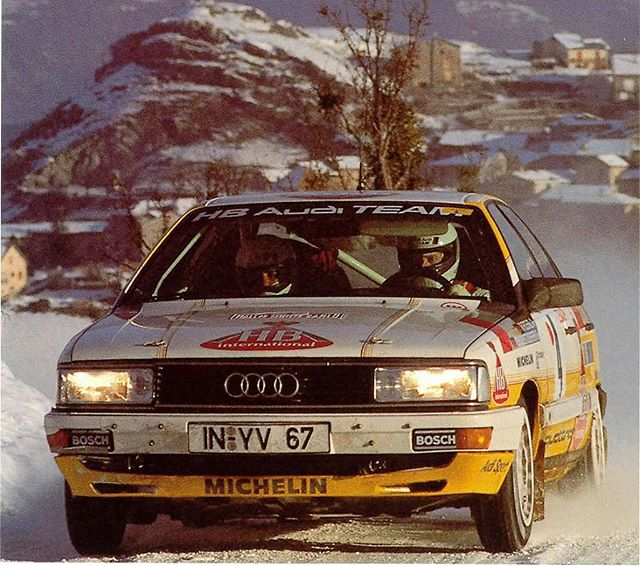 Walter Röhrl piloting his 1987 Audi 200 Quattro. Check out those pizza-cutter snow tires!