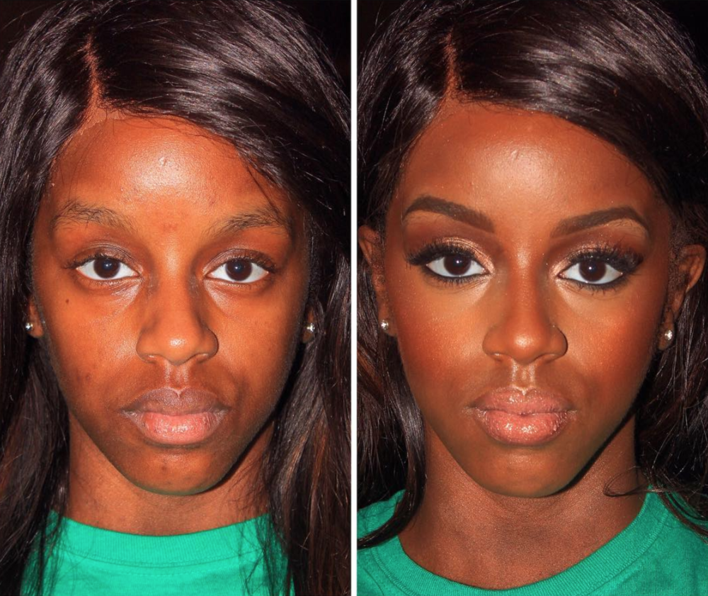 Before and After of our model Imani, Makeup by Chelsey
