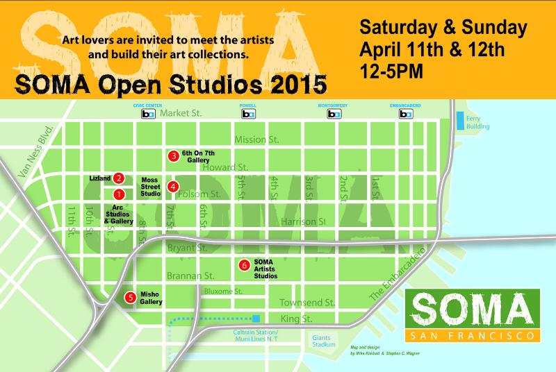 Join us in the South of Market (SOMA) neighborhood April 11th & April 12th to view a multitude of artists in their studios, all within walking distance.