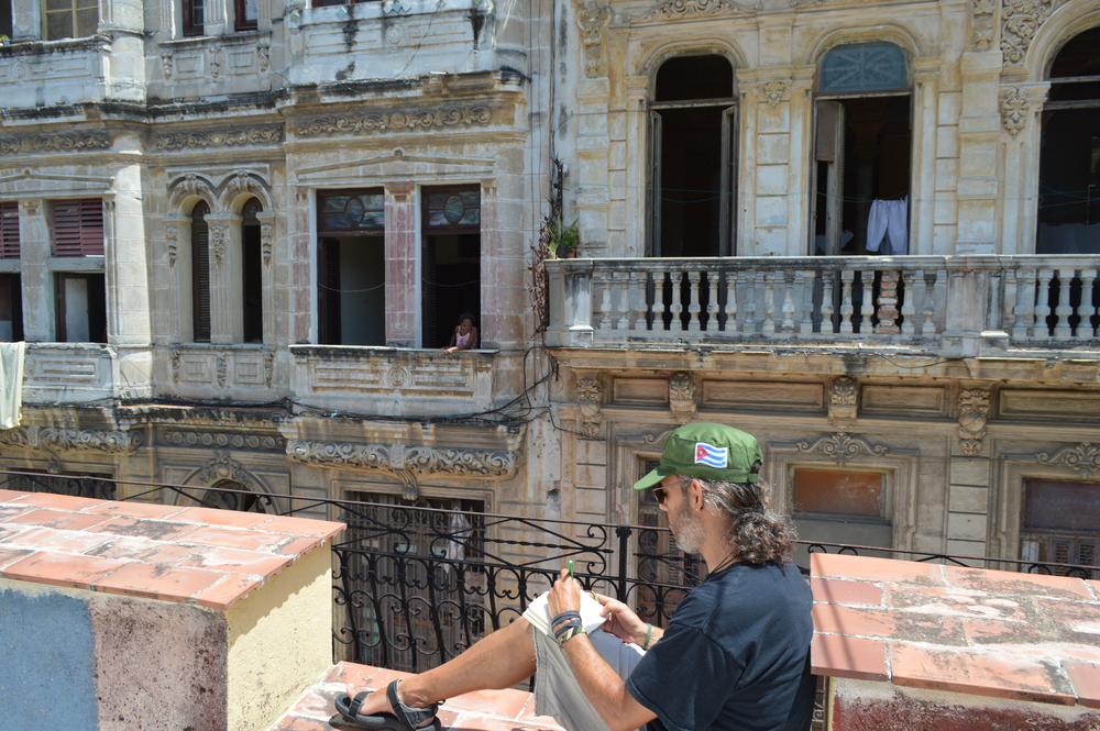 "Sketching in Centro Habana, across from paladar ""La Guarida"" Sketching in Santa Clara  