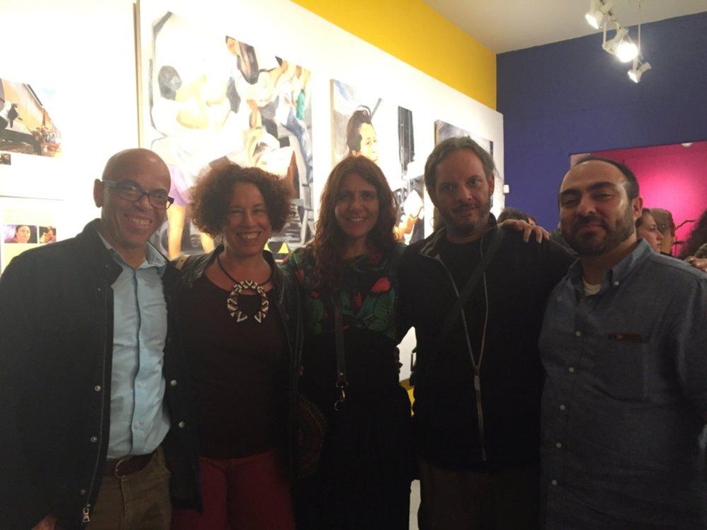 """Opening night of """"Mujeres Luz"""" @Galería de la Raza with Henry Pacheco (Communications Coordinator), artist Soad Kader & Hernan Gomez"""