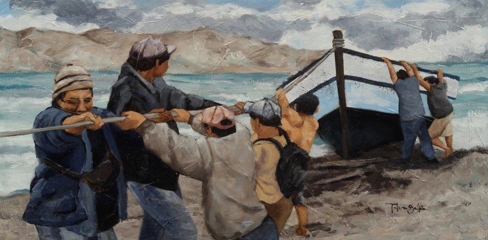 """""""Llegando de la pesca"""", oil on canvas 48 x 24"""