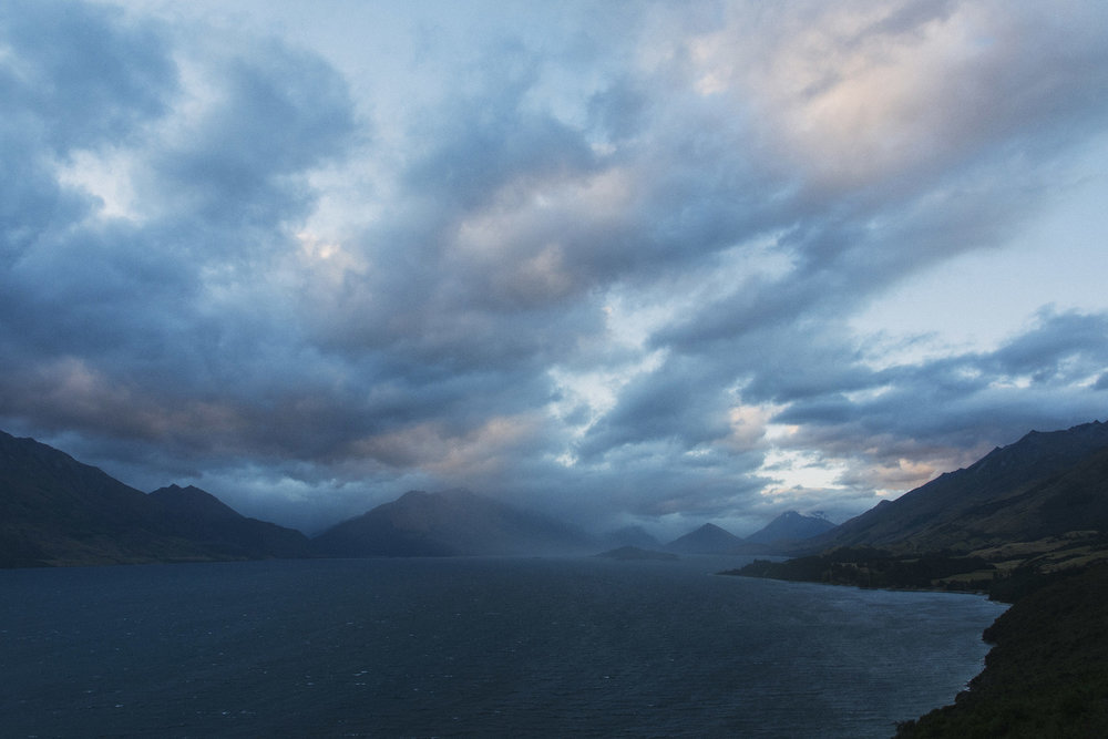 Peaceful sunsets and distant storms... Glenorchy from Glenorchy-Queenstown Road