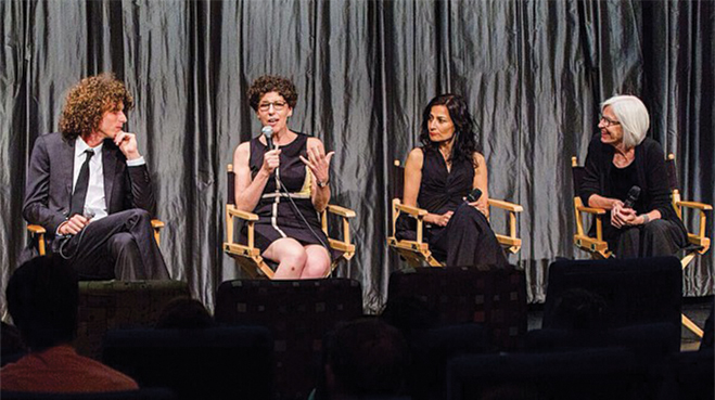 Morgan at the film premiere in May 2015 in conversation with Linda Greener, Safia Minney and Eileen Fisher.