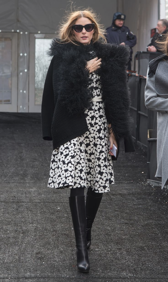 Look 2: Olivia Palermo  Boots are the quintessential fall essential. Get a pair of knee high vegan black vegan boots from Cri de Coeur.  Shoes: http://cridecoeur.myshopify.com/collections/all-boots-booties/products/arden-wohl-x-cdc-collins-tall-platform-boot-black Treat yourself to a coat fun and flirty coat with this stunner from Eileen Fisher.  Coat: http://bit.ly/1MlcrLF Cute sun dresses are not just for summer. Pair them with a pair of boots and throw over a jacket and you've got a perfect look for fall.  Dress: http://modavanti.com/elizabeth-bow-dress/ Everyone needs a killer pair of sunglasses. Make these leonard tuxedo glasses from Illesteva your go-to look.   Sunglasses: https://www.shopbop.com/leonard-tuxedo-sunglasses-illesteva/vp/v=1/1523384900.htm?fm=search-viewall&os=false