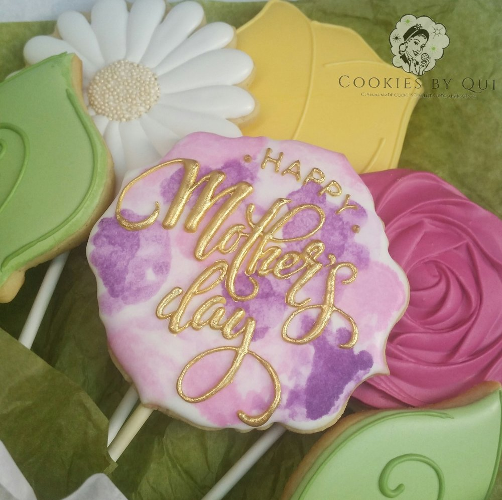 Mother's Day 2017 Watercolour Cookie Bouquet Close - Cookies by Qui Geelong