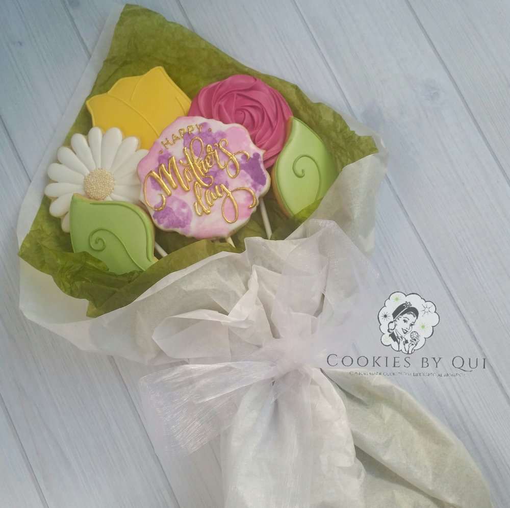 Mother's Day 2017 Watercolour Cookie Bouquet - Cookies by Qui Geelong