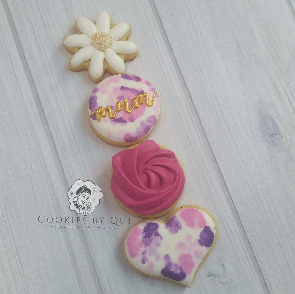 Mother's Day 2017 Watercolour Mini Cookies - Cookies by Qui Geelong