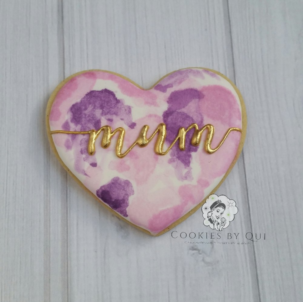 Mother's Day 2017 Watercolour Single Heart Cookie - Cookies by Qui Geelong