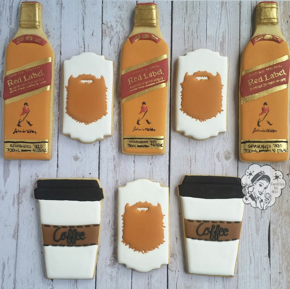 Coffee Whiskey and Beards Father's Day Cookies - Cookies by Qui Geelong