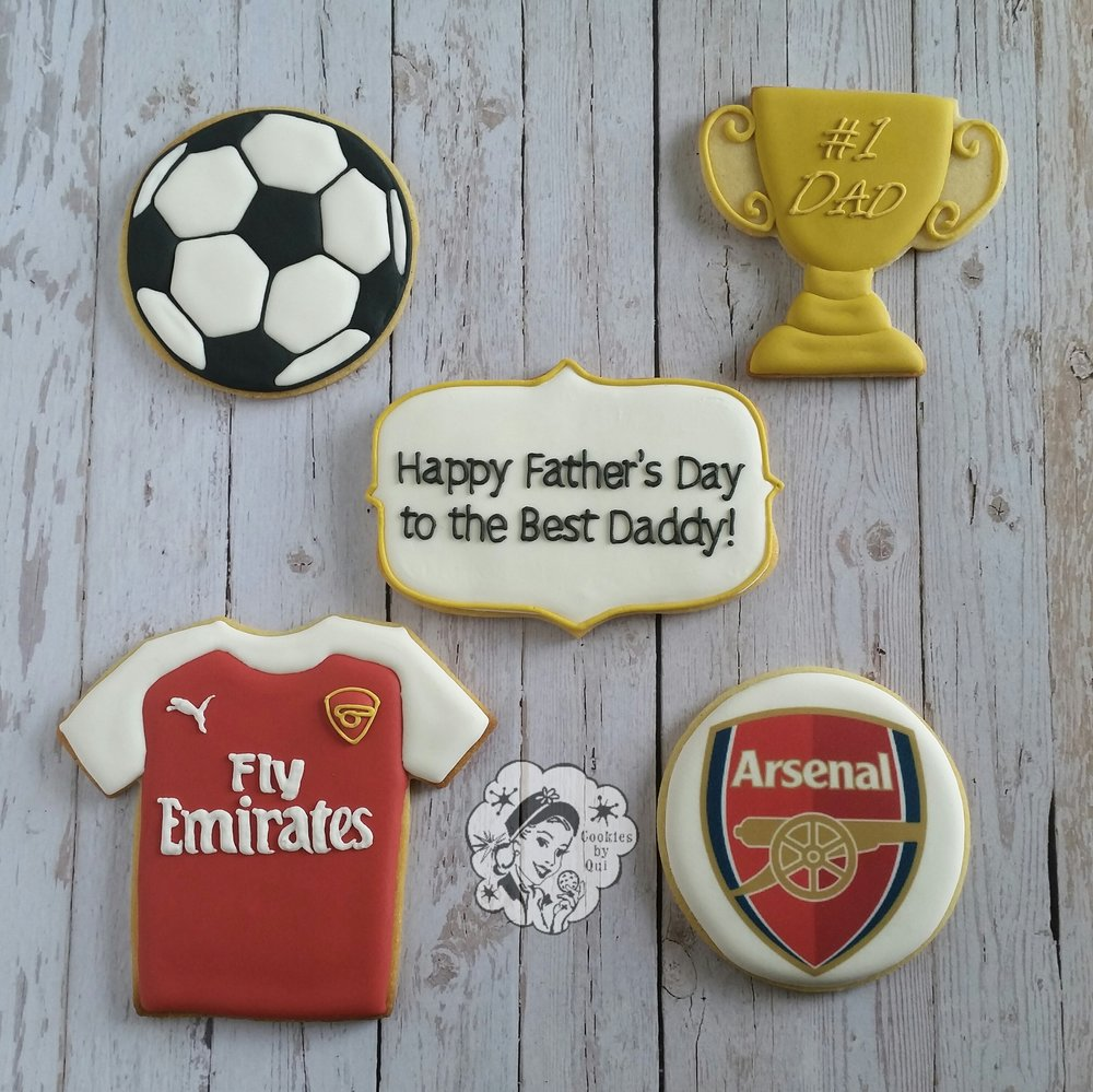 Arsenal Soccer Father's Day Cookies - Cookies by Qui Geelong