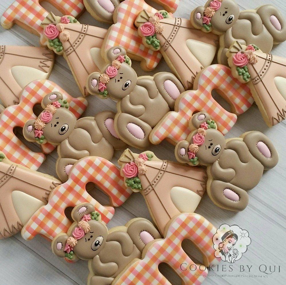 Floral Boho Teddy Bear Picnic Birthday Cookies