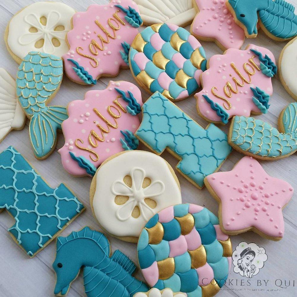 Mermaid Underwater Sea Birthday Cookies
