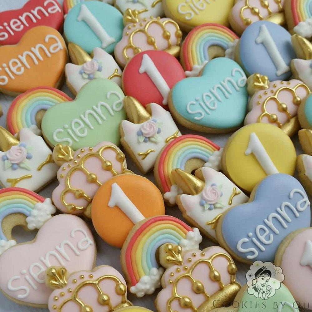 Pastel Princess Unicorn Birthday Cookies