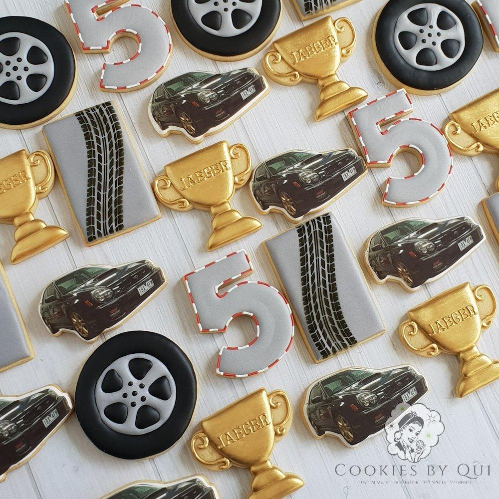 Mechanic Rev Head Adrenaline Car Go Kart Themed Birthday Cookies