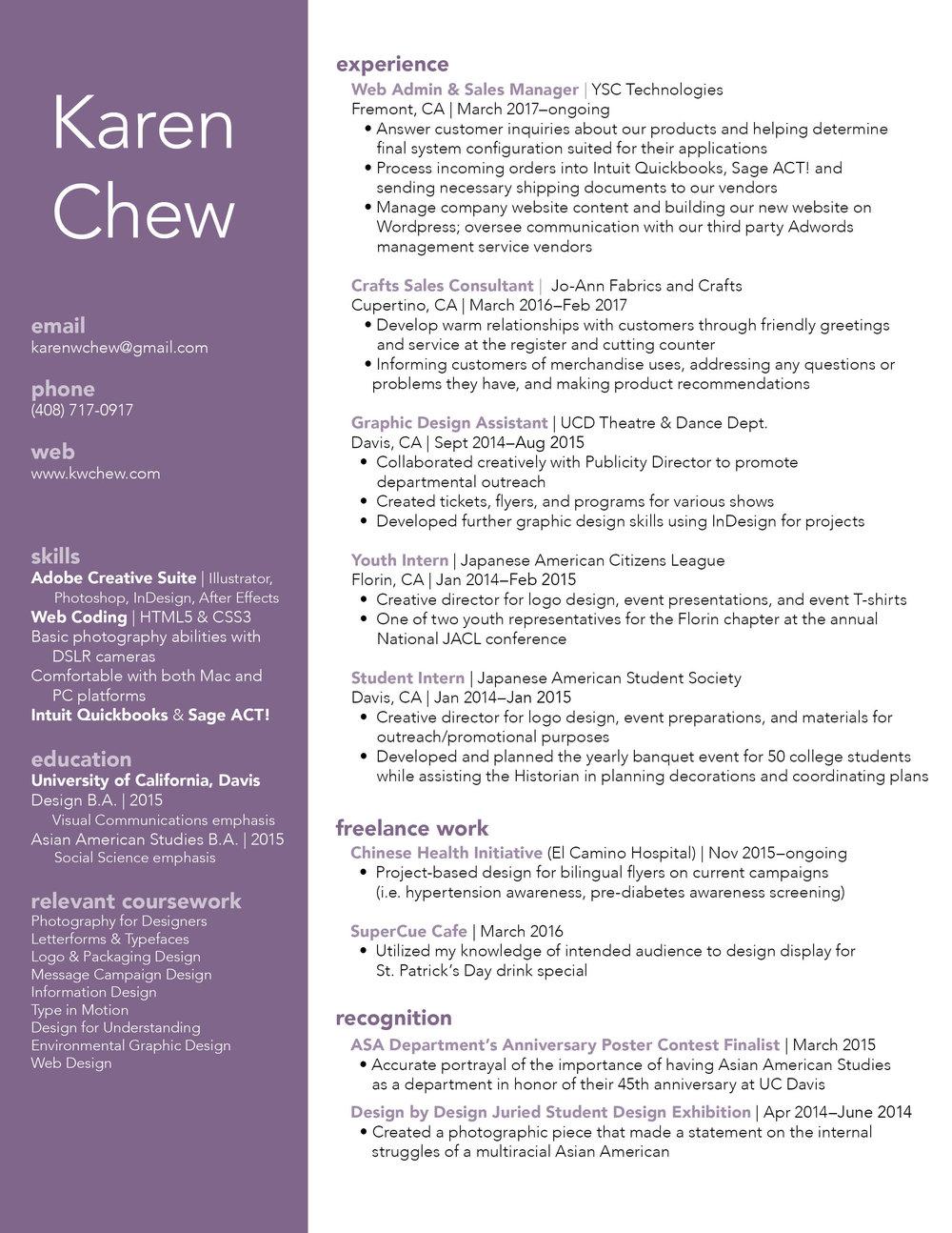 Resume — KAREN CHEW