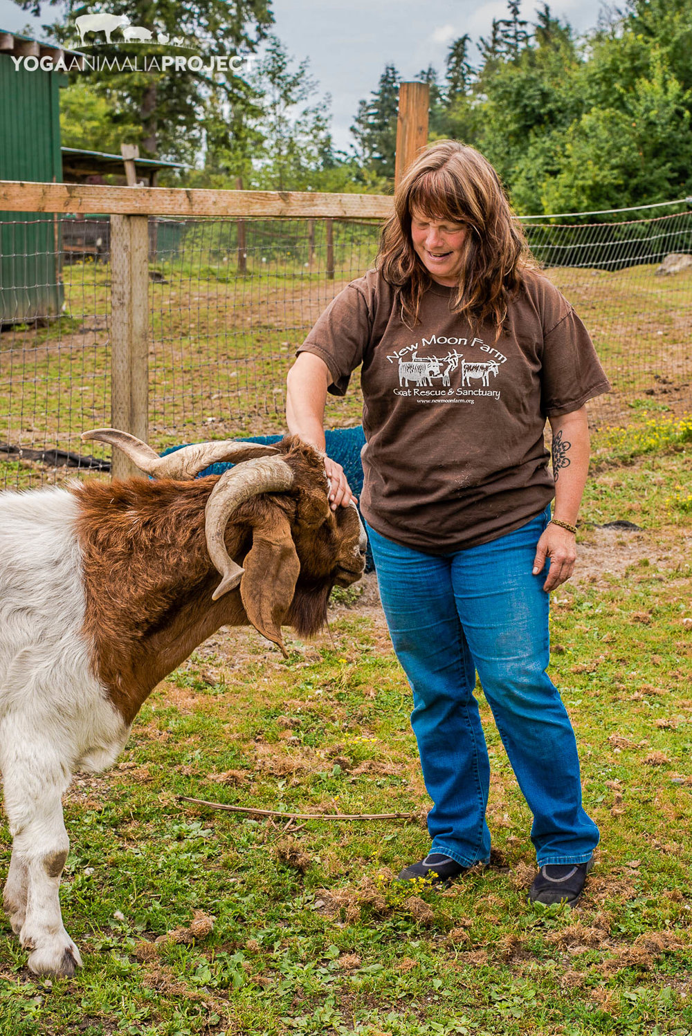 Yoga Animalia: Caprine - Jake - New Moon Farm Goat Rescue & SanctuaryArlington, WashingtonJake with sanctuary founder & farm director Ellen Felsenthal