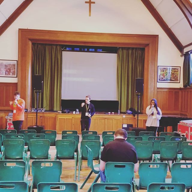 Sound checking for 6th form event! #LiveLife1010 @messagetrust