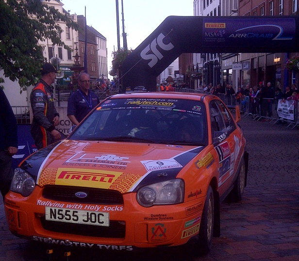 Back under the MSA ARR Craib Scottish Championship Arch in Dumfries town centre.