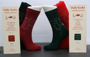 A website special, our angels design Holy Socks come in size 7-11 (generally a men's size) in red and black and size 4-7 (generally a ladies or teenager's size) in bottle green or maroon. .