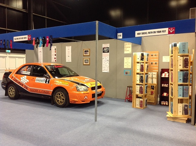 The rally car starred on the Holy Socks stand.