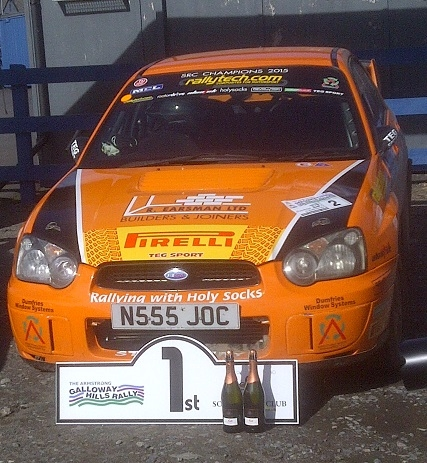 At the finish of the Armstrong Galloway Hills Rally, and Jock and Paula win the MSA ARR Craib Scottish Rally Championship for the second year running.