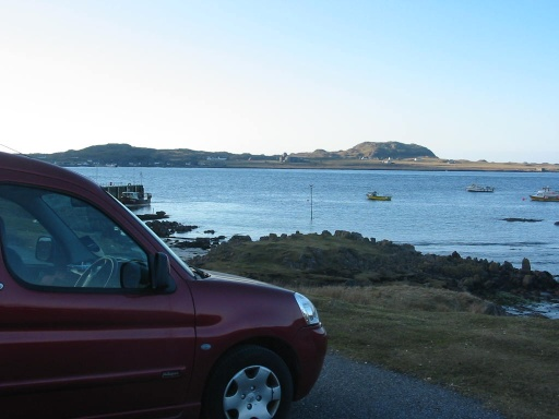 Stayed a night's B and B and then left the car at Fionnphort - can't take the car to Iona so had to be left in the car park on Mull.