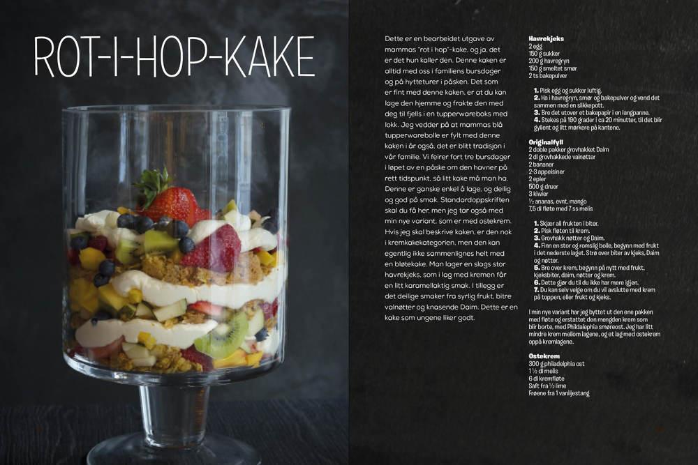 """Slik ser rot-hop-kaka ut i boken """"Djævelsk godt"""". Vi deler oppskriften med deg her."""