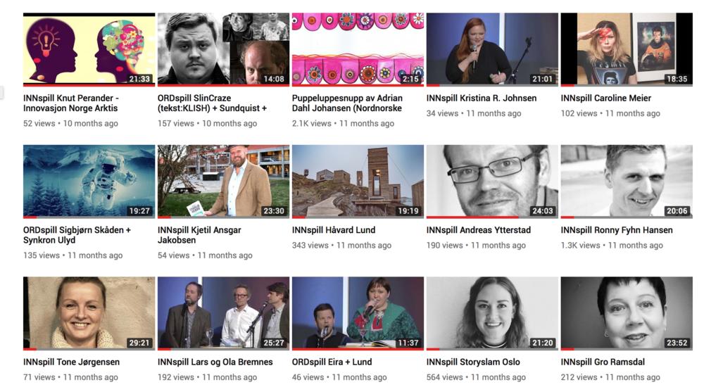 (Alle  foredrag (Innspill) og  konserter (Ordspill)  kan ses på YouTube).
