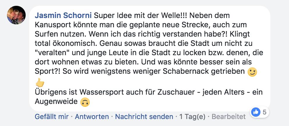 Facebook-Kommentar vom 8. Mai von Kanuslalom-Weltmeisterin und Olympiateilnehmerin  Jasmin Schornberg