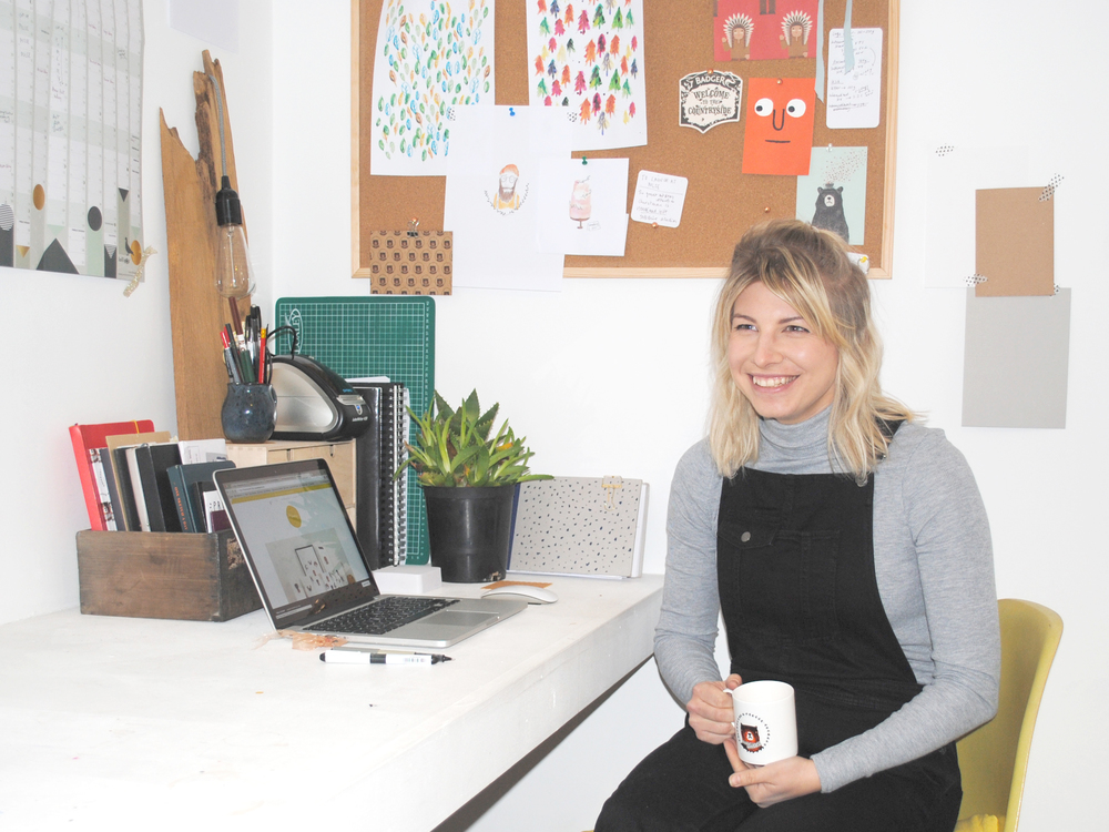 Fiona in her lovely workspace!