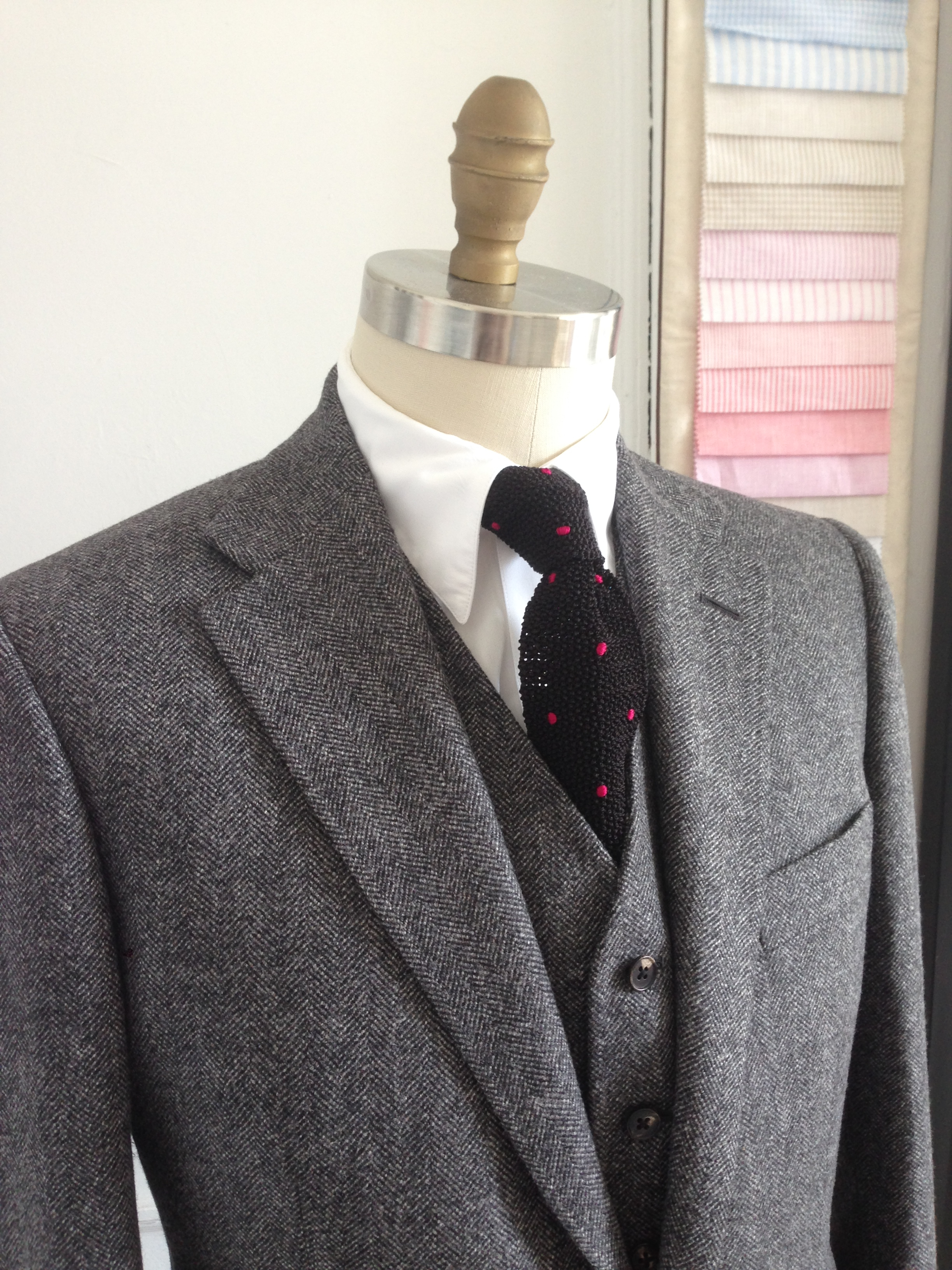 Grey Tweed three piece suit, Porter and harding cloth